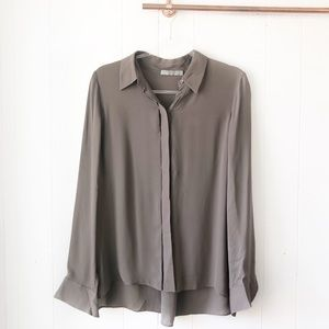 NWT Vince Silk High Low Button Up Blouse